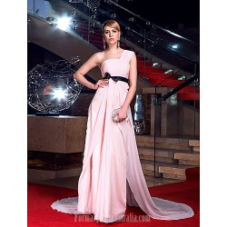 Australia Formal Dress Evening Gowns Blushing Pink Plus Sizes Dresses Petite A Line Sexy One Shoulder Chapel Train Chiffon